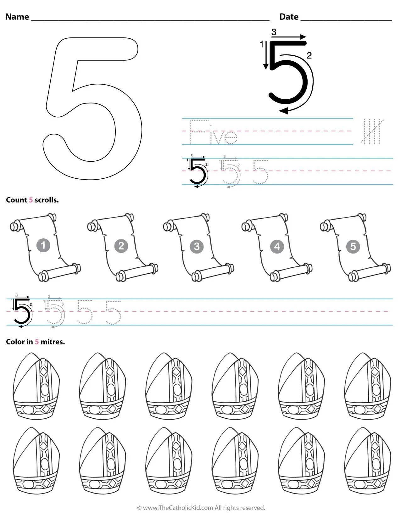Catholic Number 5 Worksheet Preschool Kindergarten