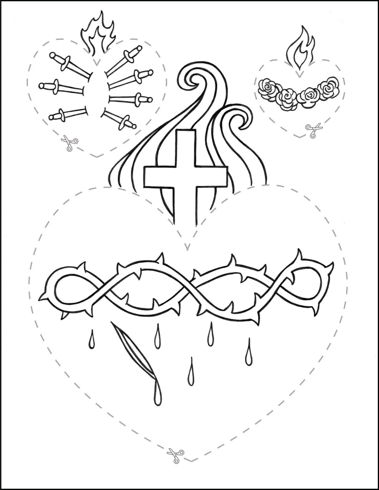 Catholic Cutting Worksheet Hearts