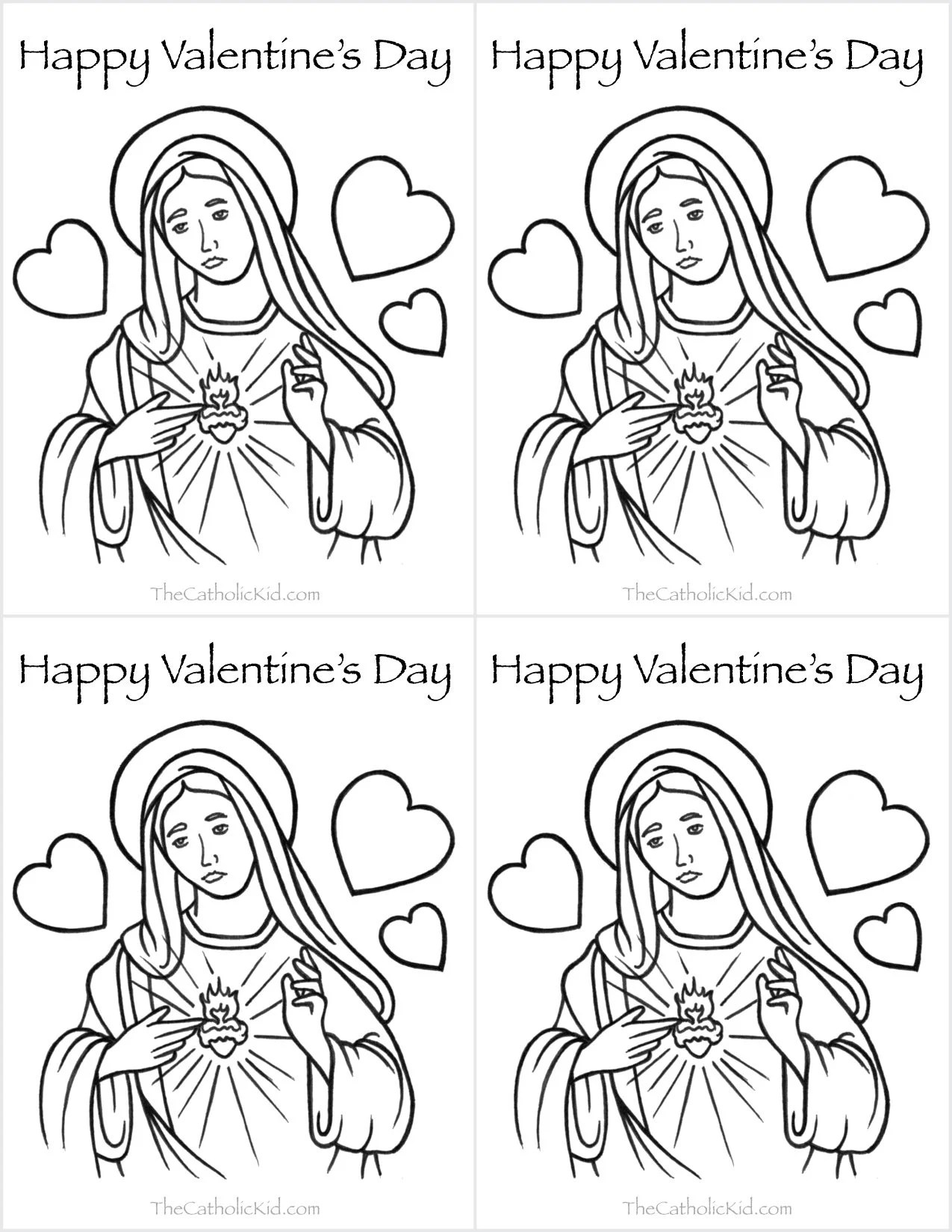 Catholic Valentine S Day Cards To Color