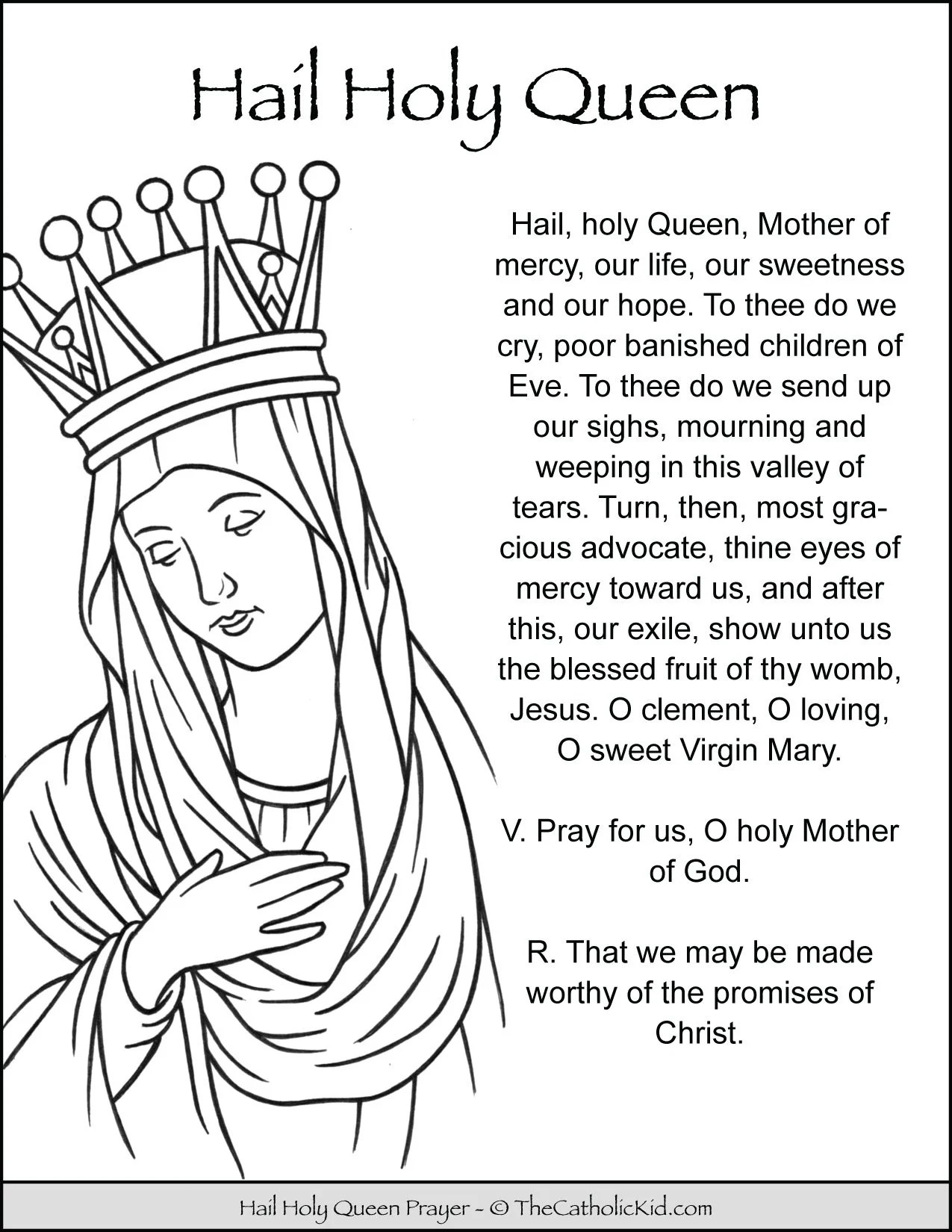 Hail Holy Queen Prayer Coloring Page