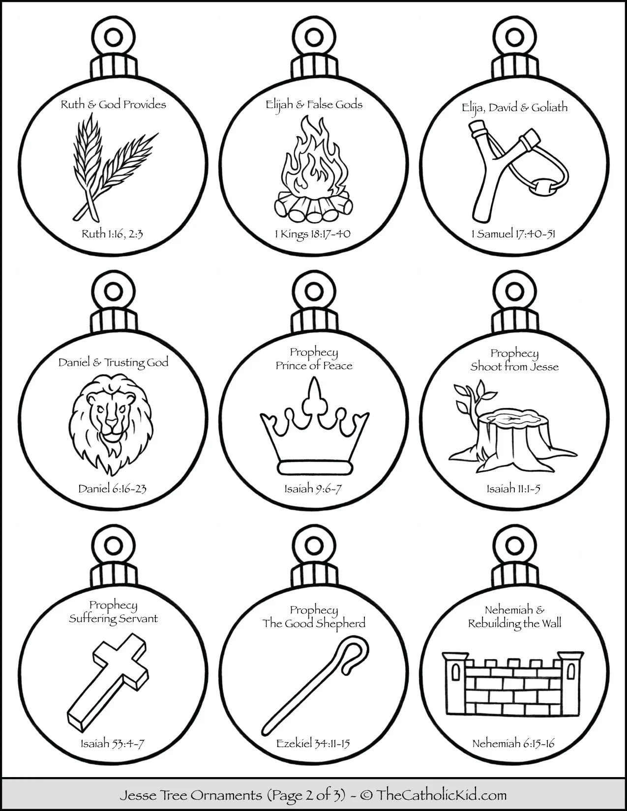 Jesse Tree Ornaments Printable Coloring Page