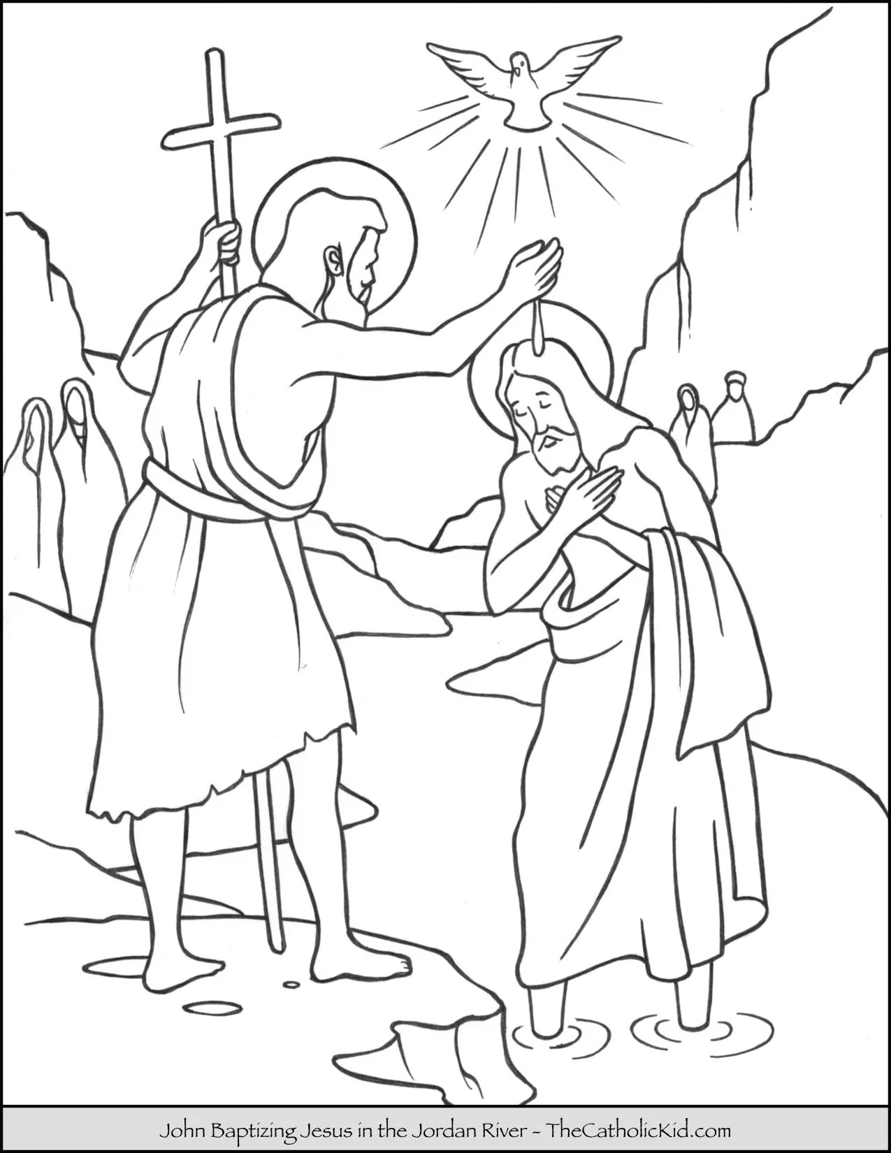 Saint John Baptizing Jesus In The River Jordan Coloring