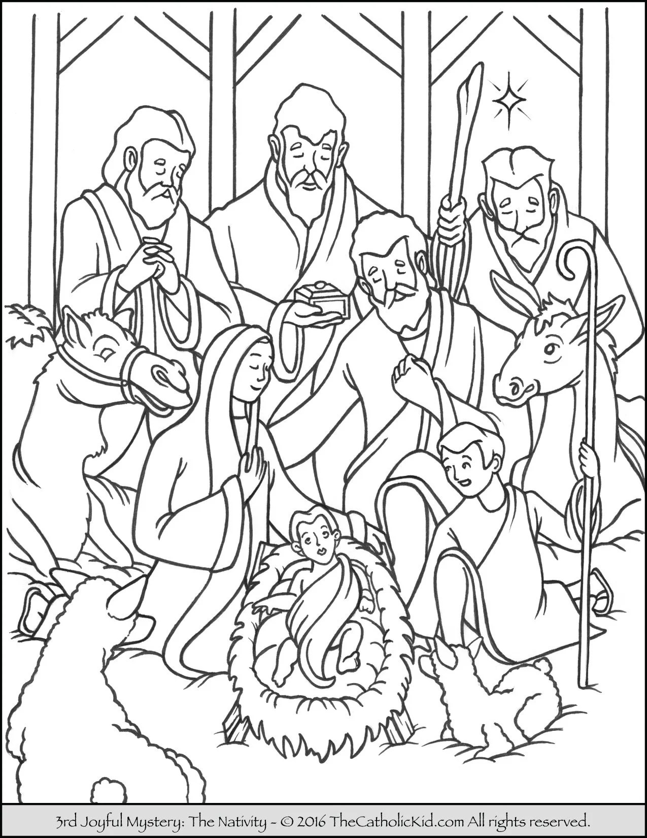Joyful Mysteries Rosary Coloring Pages