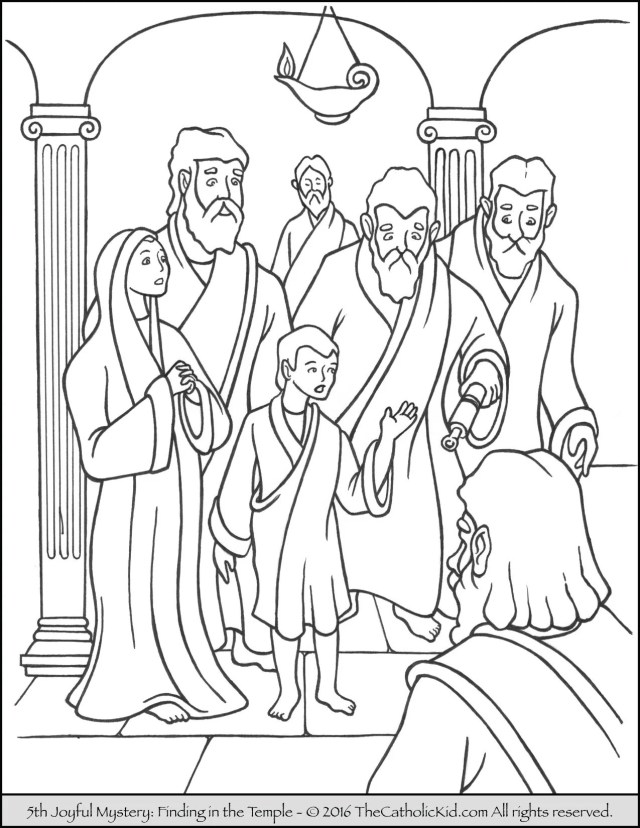 Joyful Mysteries Rosary Coloring Pages - Finding Jesus in the