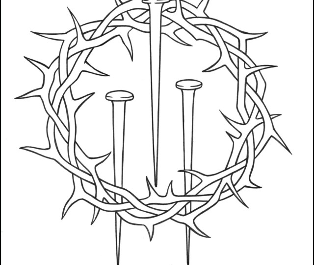 Lent Coloring Page Crown Of Thorns Nails Thecatholickid Com