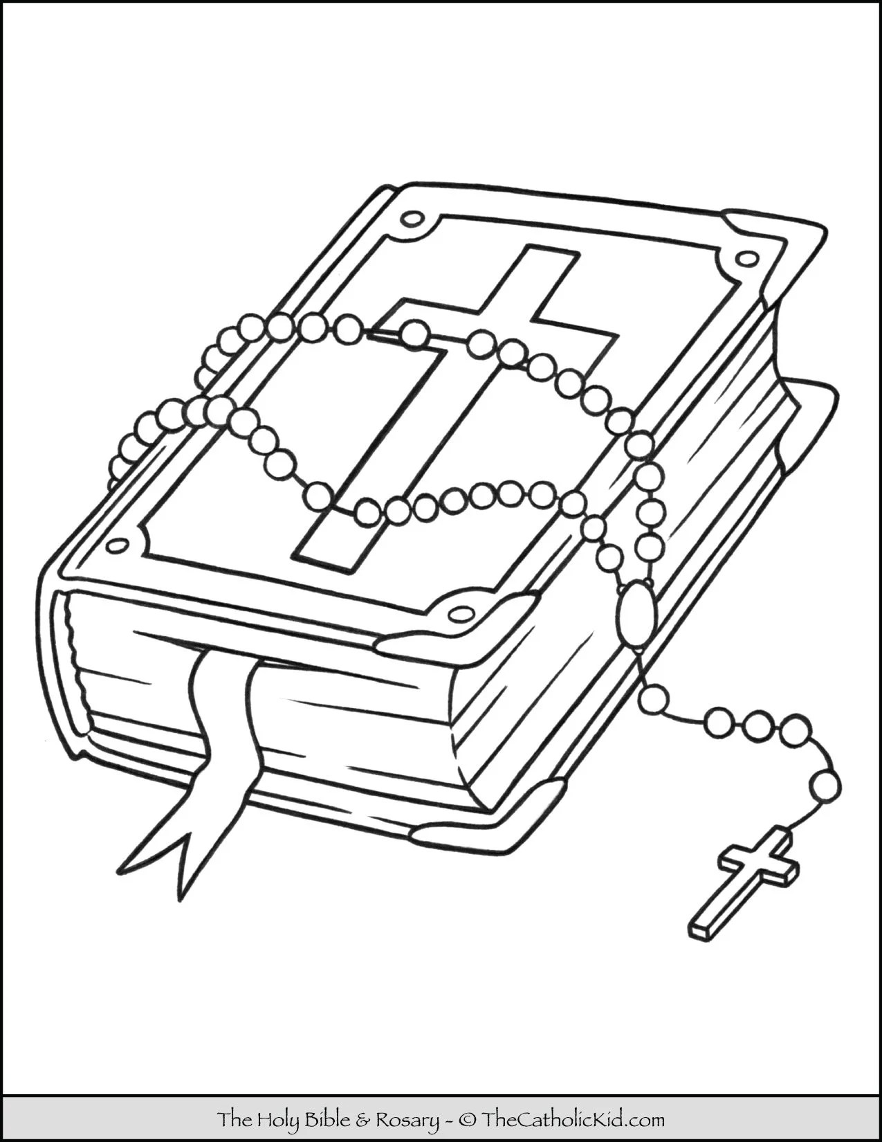Rosary Amp Bible Coloring Page