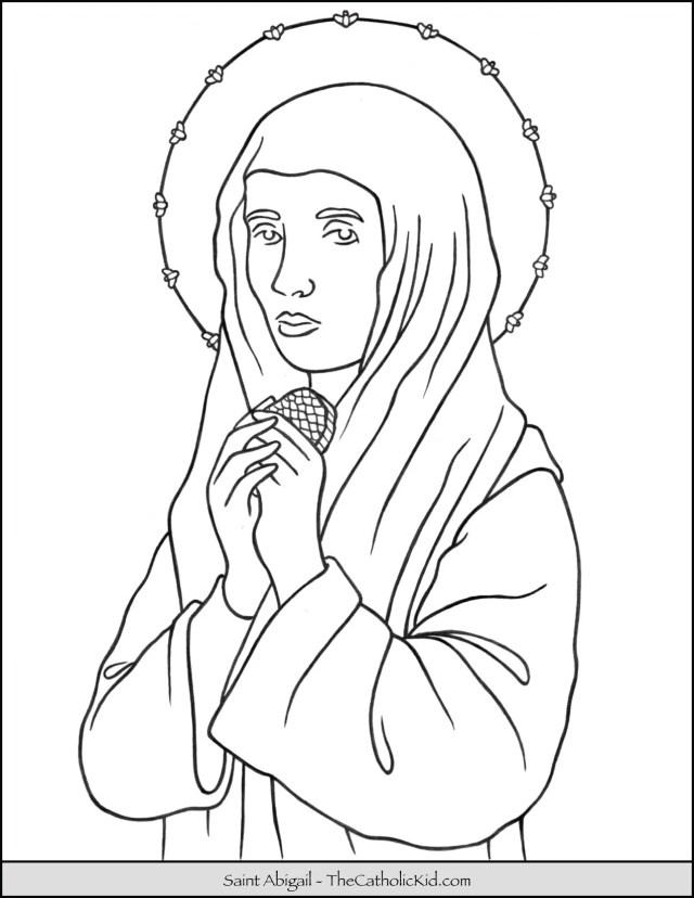 Saint Abigail Coloring Page - TheCatholicKid.com