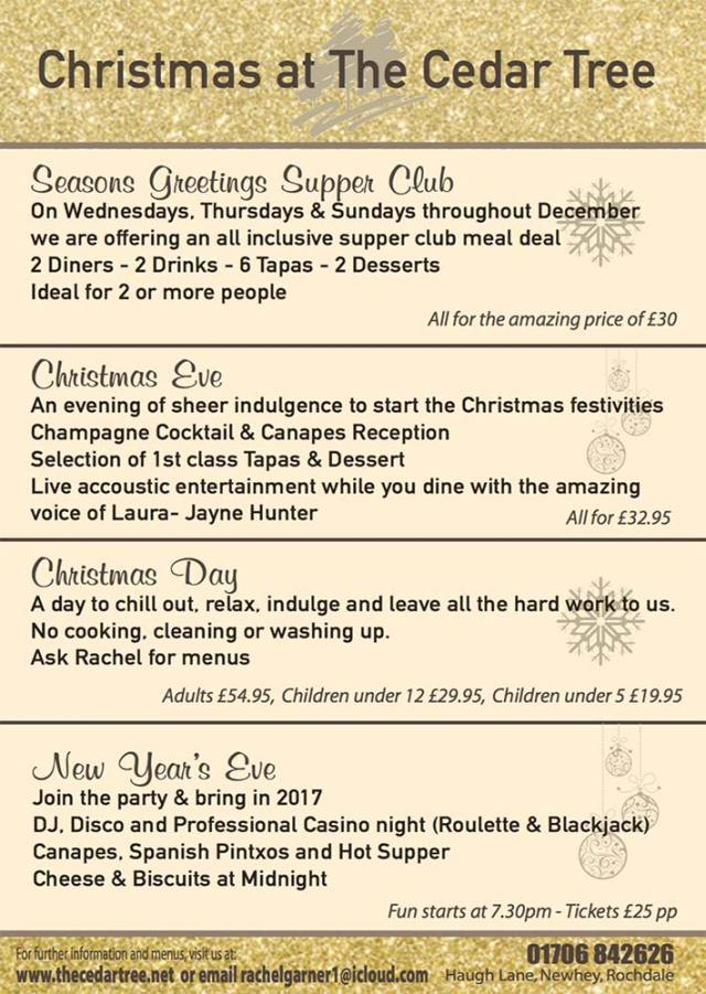 Christmas at the cedar tree rochdale tapas