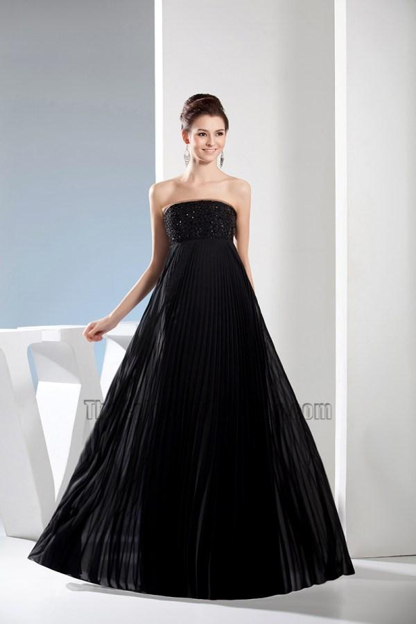 Black Strapless ALine Full Length Prom Gown Evening