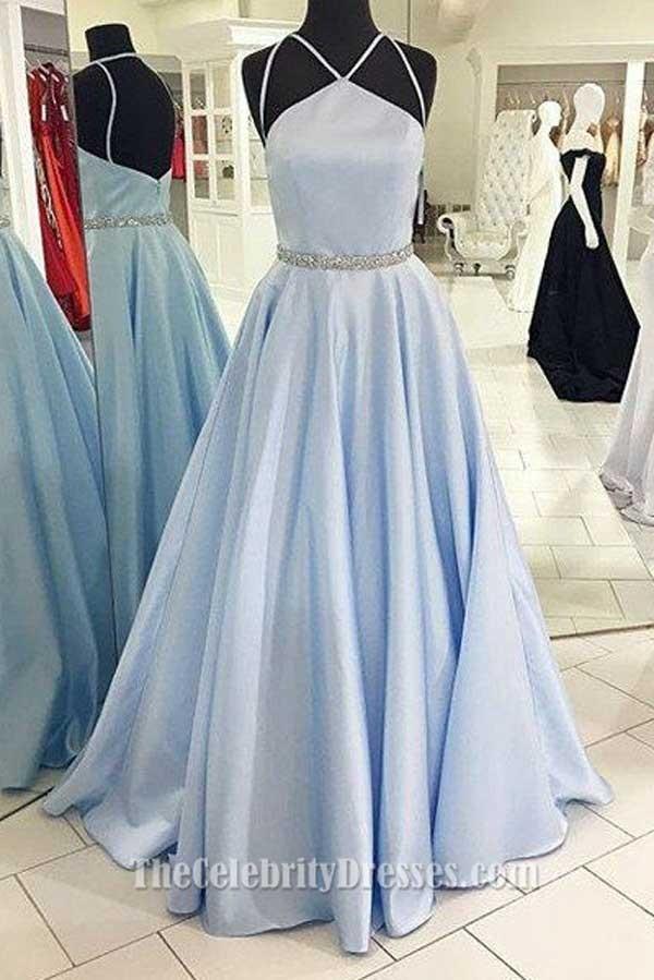 Full Length Light Sky Blue A Line Prom Dress Evening