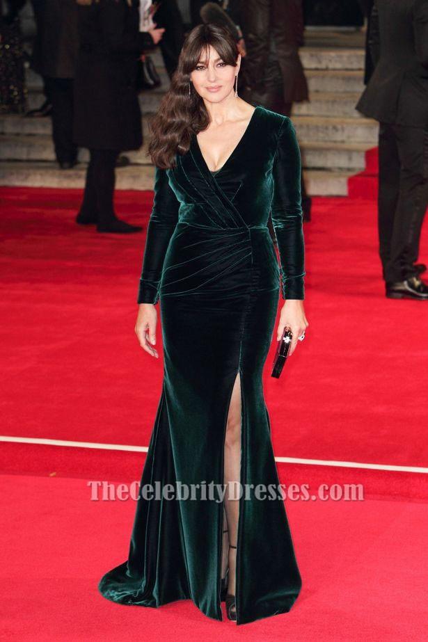 Monica Bellucci Dark Green Long Sleeve Evening Dress