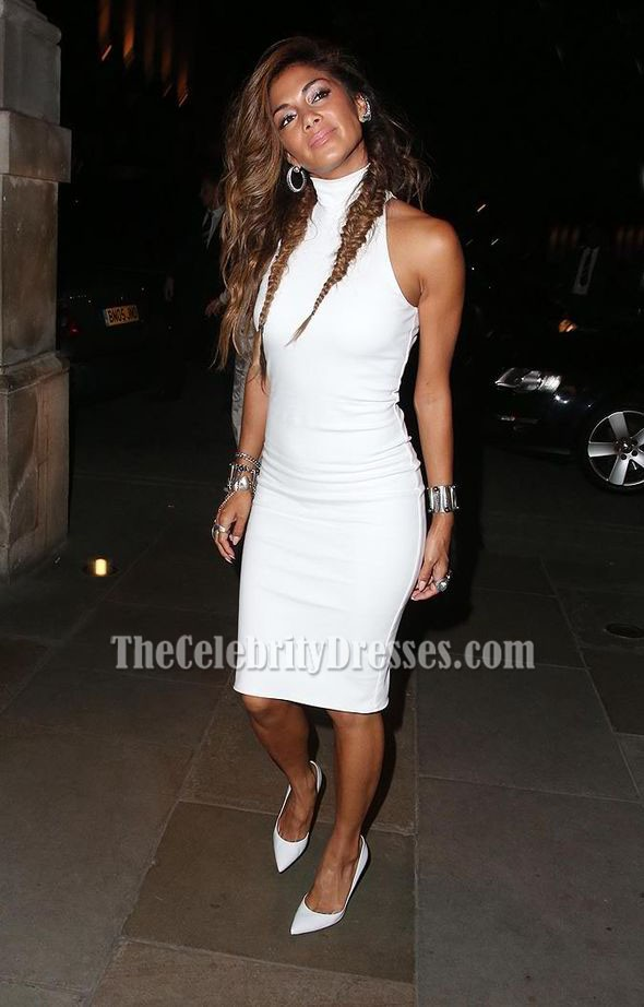 Nicole Scherzinger White Knee Length Sleeveless Cocktail