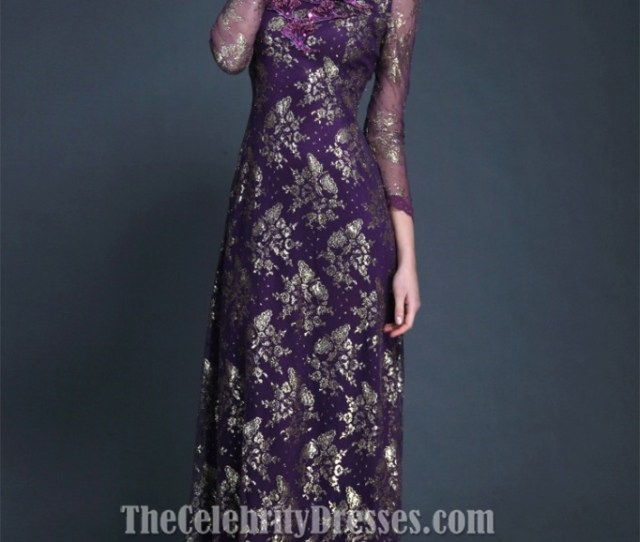 Elegant Purple Long Sleeve Evening Dress Formal Gown Ck Thecelebritydresses