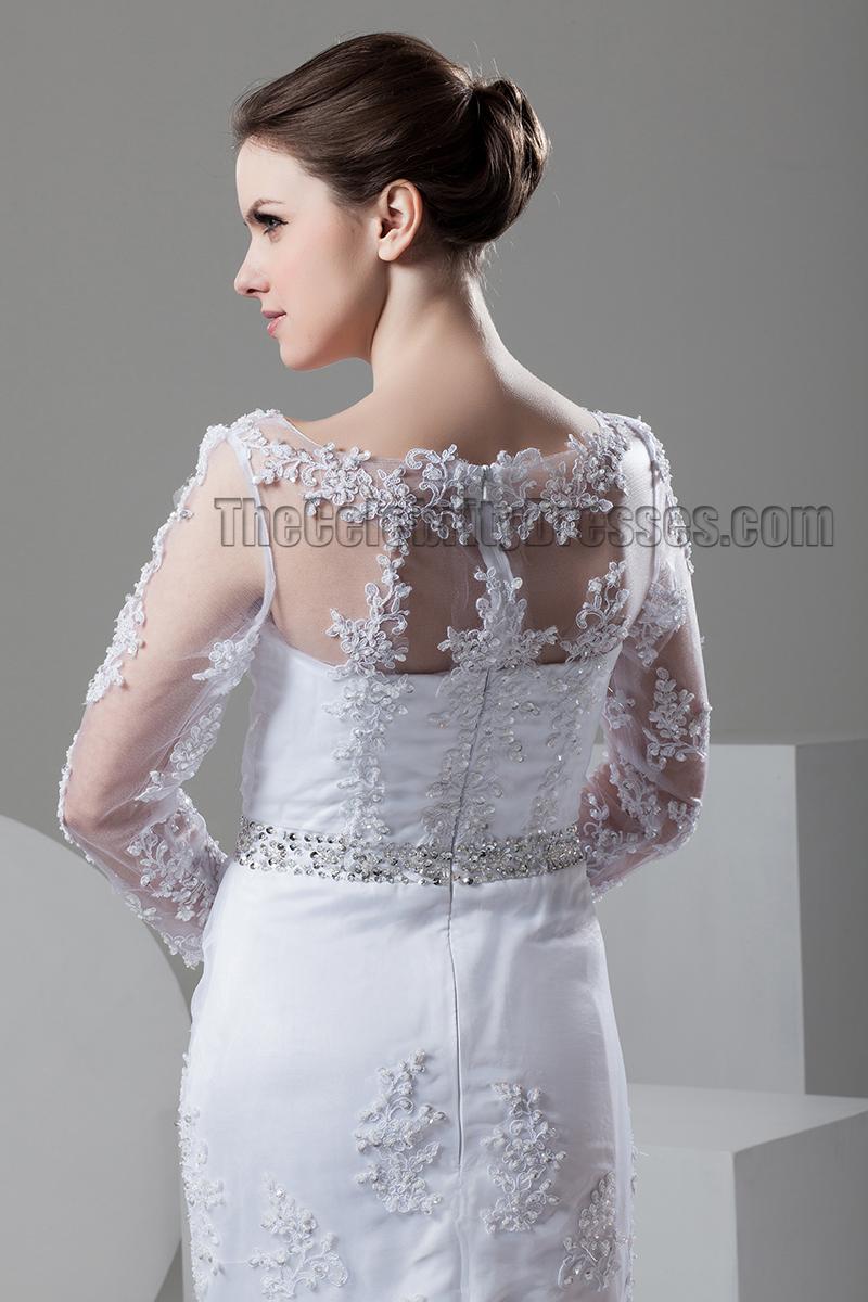 SheathColumn Lace Long Sleeve Beaded Wedding Dresses
