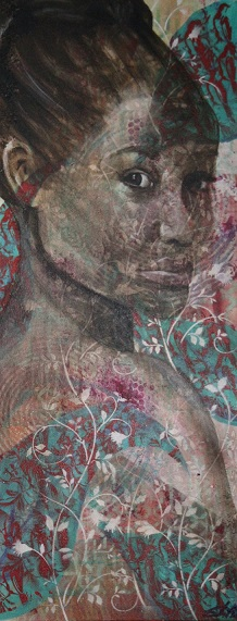 "16"" x 40"" Mixed media on canvas"