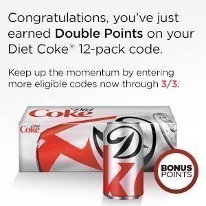 My Coke Rewards: Double Points on Diet Coke 12 Packs and Coca Cola Sixers Products (Limited Time)