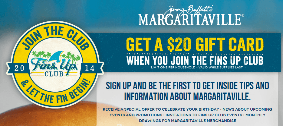 Free 20 Gift Card To Jimmy Buffetrsquos Margaritaville The