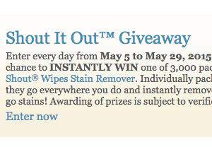 Shout it Out Giveaway: Win 1 of 3,000 Packages of Shout Wipes Stain Remover
