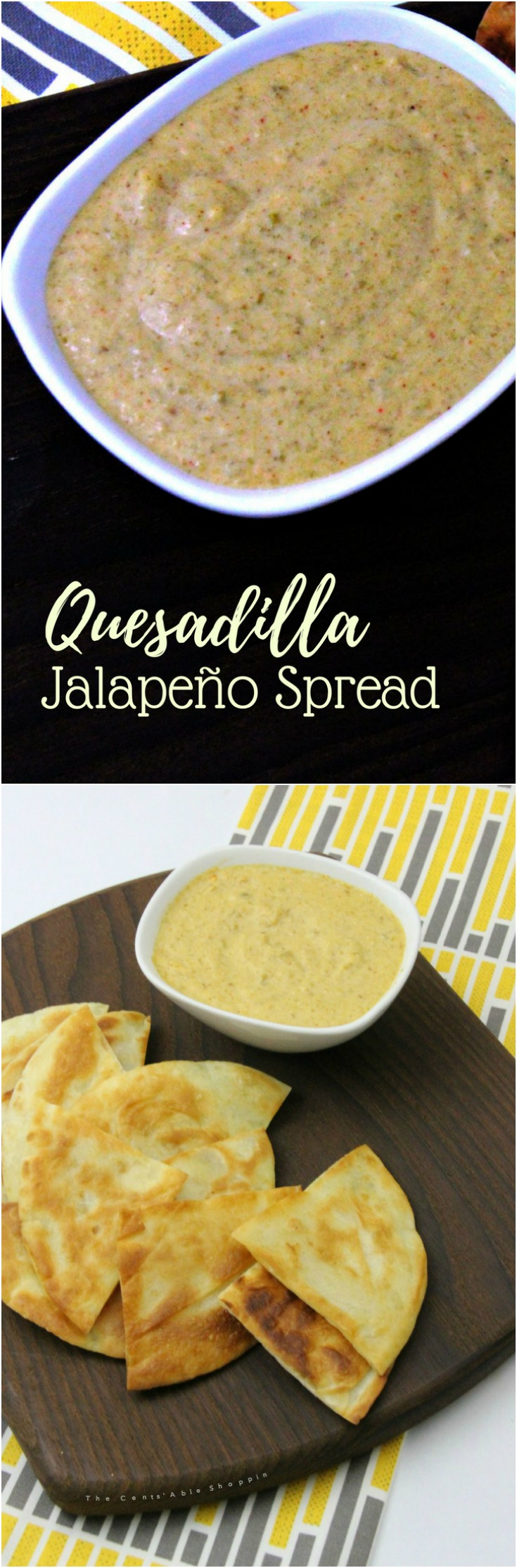 A kicked up quesadilla jalapeño spread that's simple to make and delicious spread on quesadillas, or used as a dip. #jalapenos #dip #appetizer