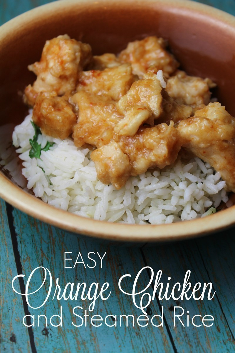Easy 15 Minute Orange Chicken With Steamed Rice