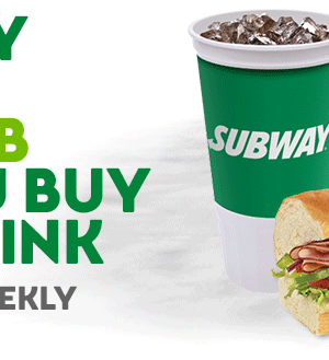 Subway: FREE 6″ Sub with Any Sub and Drink
