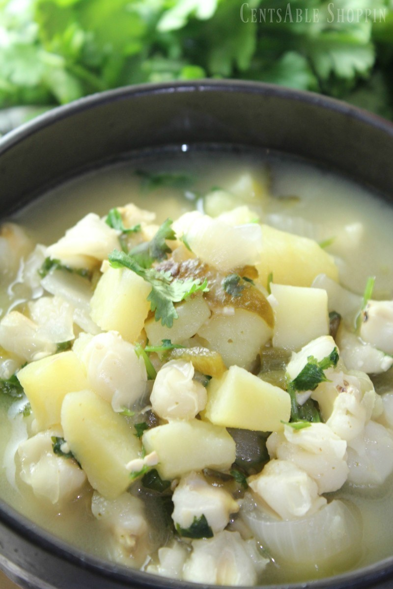 Combine potatoes, poblano chiles and hominy in this rich and hearty soup that is easy to make & full of flavor.