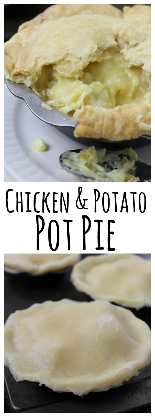 A delicious homemade chicken and potato pot pie with a homemade butter crust - comfort food at it's best!