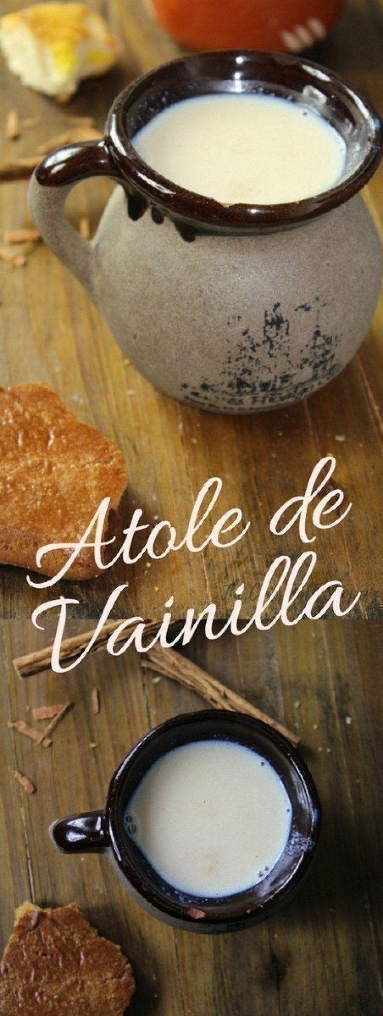 Atole de Vainilla is a traditional masa-based hot beverage, made easily with milk, vanilla beans, corn flour and piloncillo.
