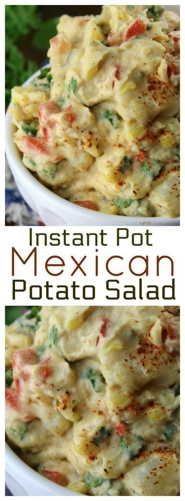 A delicious combination of Mexican spices, mayonnaise and fresh veggies coat potatoes for a twist on traditional potato salad.