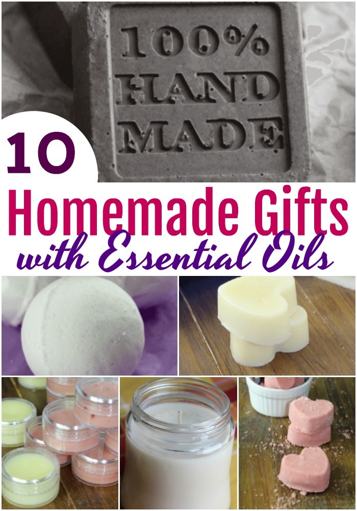 10 Homemade Gifts with Essential Oils:  Gift giving to family and friends? Here are 10 homemade Items you can give with essential oils!  #DIY #homemadegifts #essentialoils #ValentinesDay #MothersDay