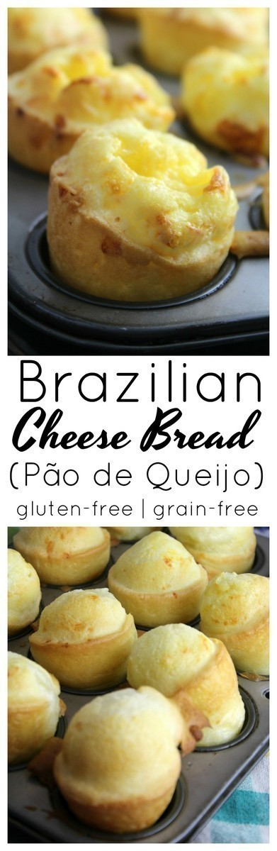 Gluten-Free Brazilian Cheese Bread (Pão de Queijo):  A gluten-free cheesy and chewy cheese roll made with Tapioca Flour and commonly served as a breakfast or snack item in Brazil. #glutenfree #healthy #grainfree #healthysnack
