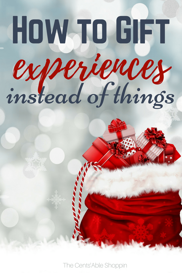 The holiday season is traditionally a time of shopping and gift giving - however, it doesn't have to be.  Giving the gift of experiences is far more gratifying than giving material items. Here are some ideas to help you do just that. #experiences #Christmas #holidays