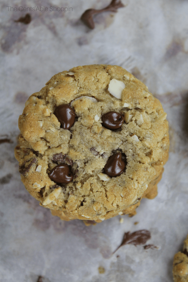 Wonderfully large, chewy, gooey jumbo size chocolate chip cookies that are perfectly chewy and perfect with a tall glass of cold milk! #chocolatechip #cookies