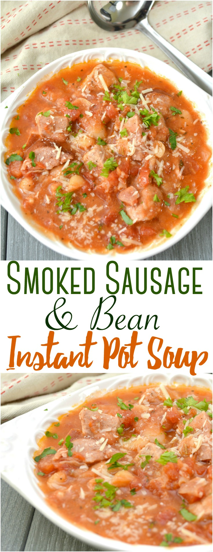 This easy yet hearty Pork, Smoked Sausage and Bean Instant Pot soup comes together quickly and easily for busy weeknights!