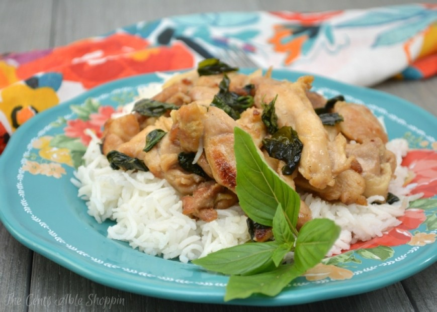 Thai  Basil Chicken.   Make this healthier take-out version at home in under 20 minutes.  It's delicious, and comes together quickly!