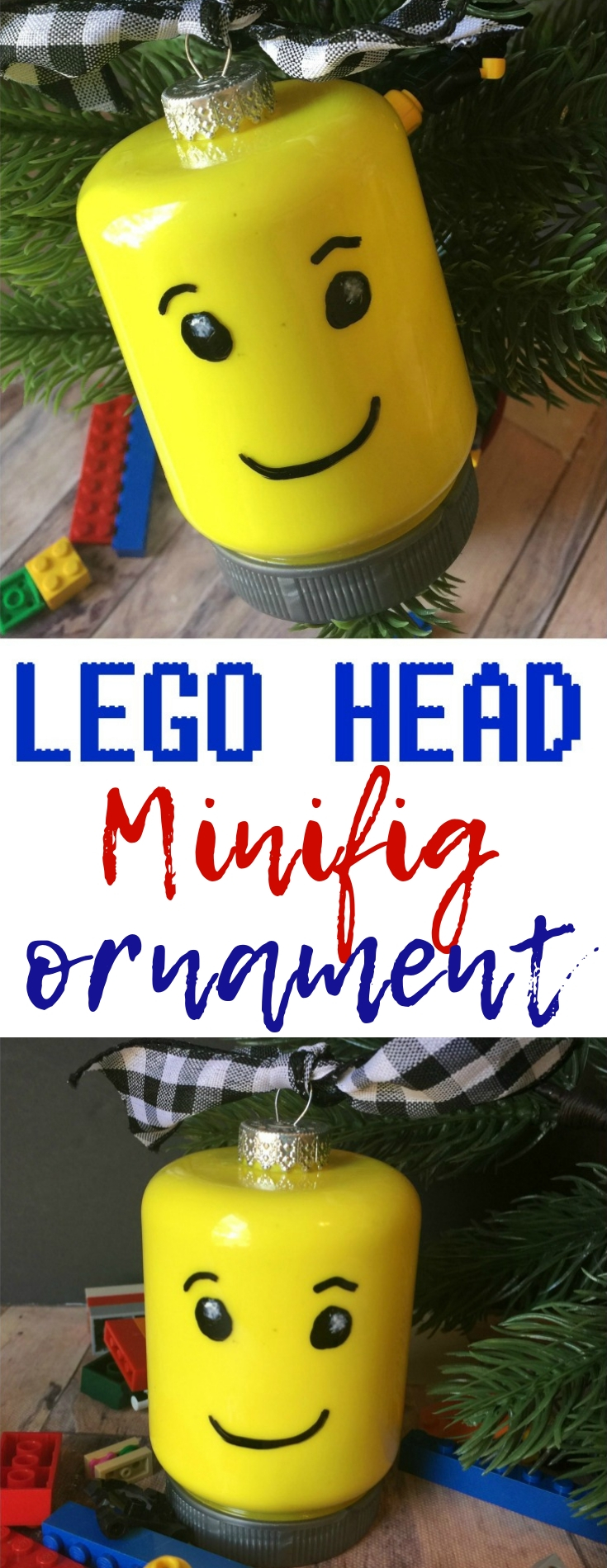 This simple LEGO Head Minifig Ornament is easy to make with simple items that would be a great project for a small family or as a larger group craft!