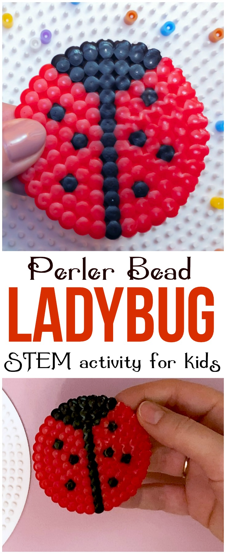 This perler bead ladybug is a fun and adorable project that will help kids develop fine motor skills, patience and artistic design! #perler #perlerbead #STEM #STEAM #kids #craft #motorskills #spring #ladybug