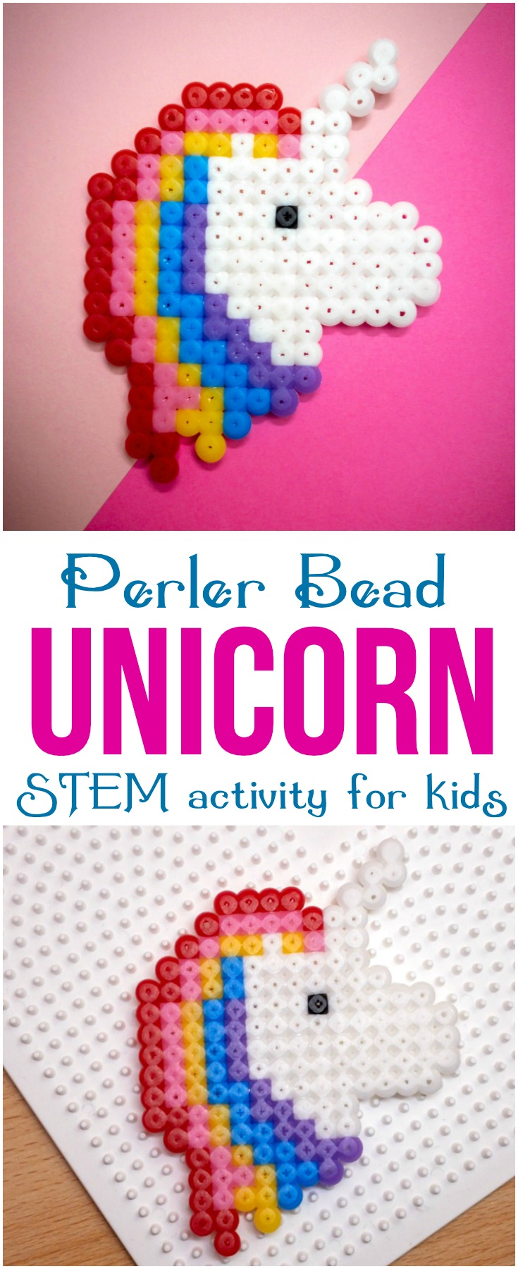This perler bead unicorn is a fun, cute project that will help kids develop fine motor skills, patience and artistic design! #unicorn #perlerbead #kidscraft #kids #bead #beaddproject #STEM