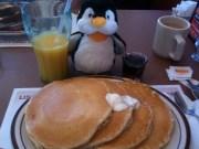 Pengee having breakfast