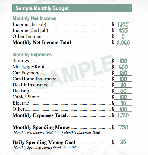 McDonald's Sample Budget