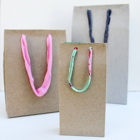 handmade gift bags from recycled materials