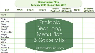 2014 Meal Plan and Printables