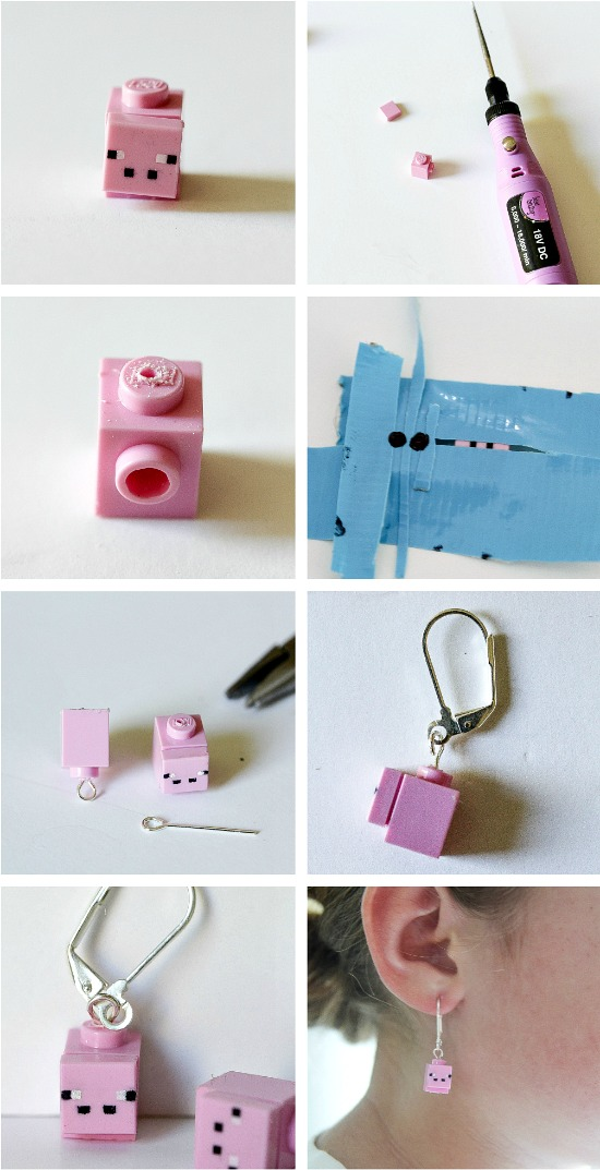 how to make minecraft lego earrings