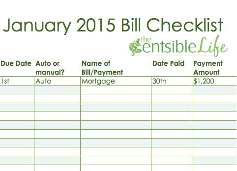 2015 Bill Checklist