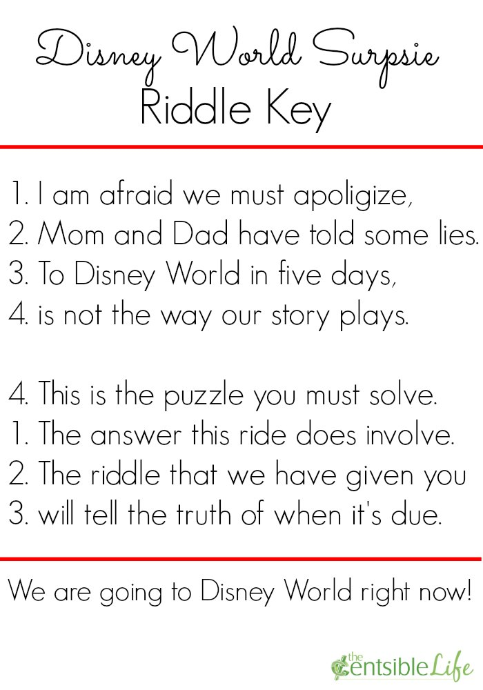 Disney World Riddle Key