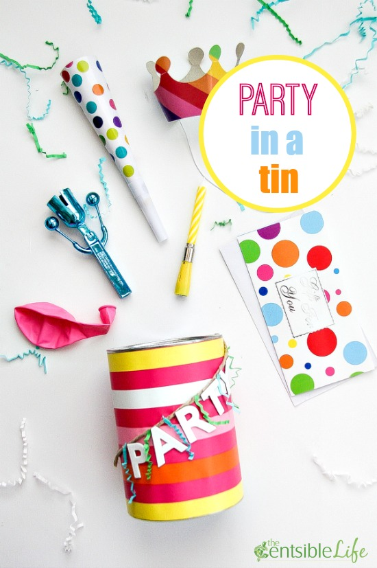 Create a fun gift around a gift card with this fun party in a tin.