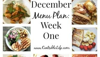 December Menu Plan: Week One