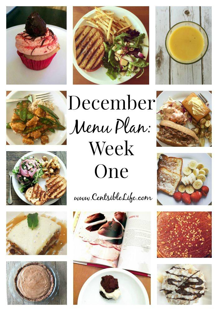 December Menu Plan Week One
