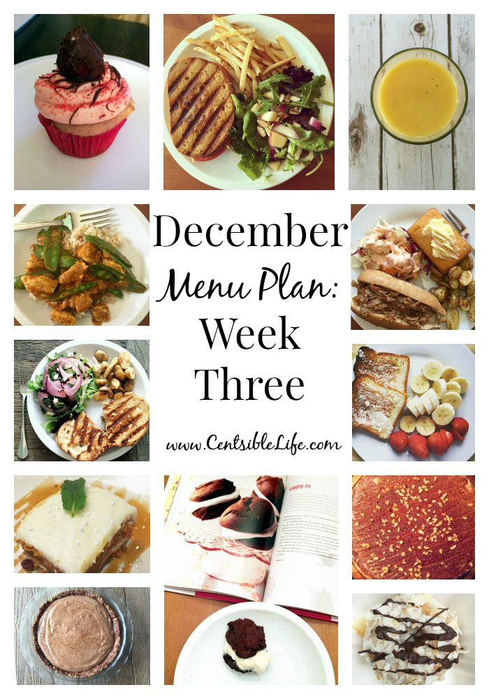 December Menu Plan Week Three