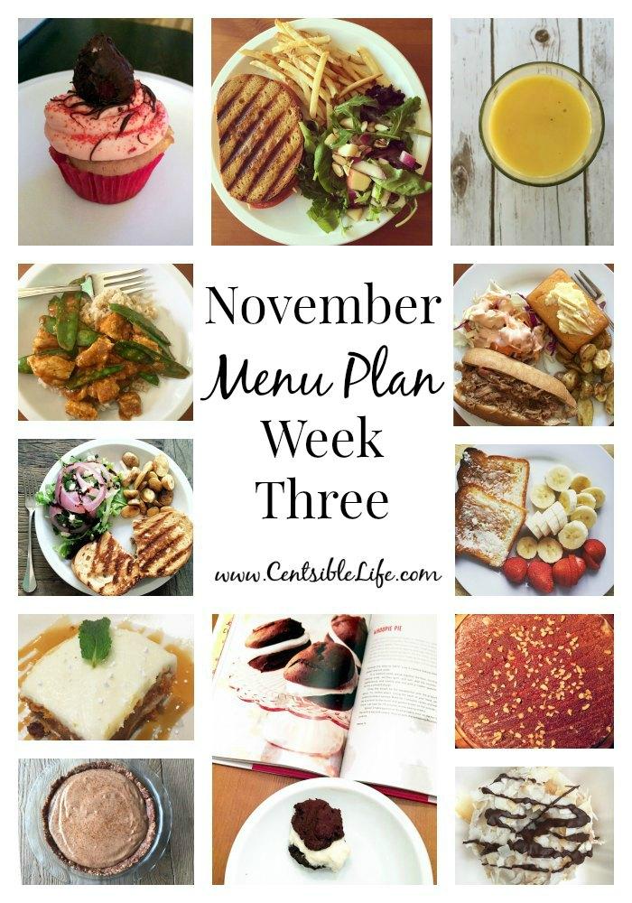 November Menu Plan Week Three